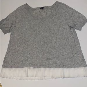 Torrid short sleeve gray sweater w white ruffles